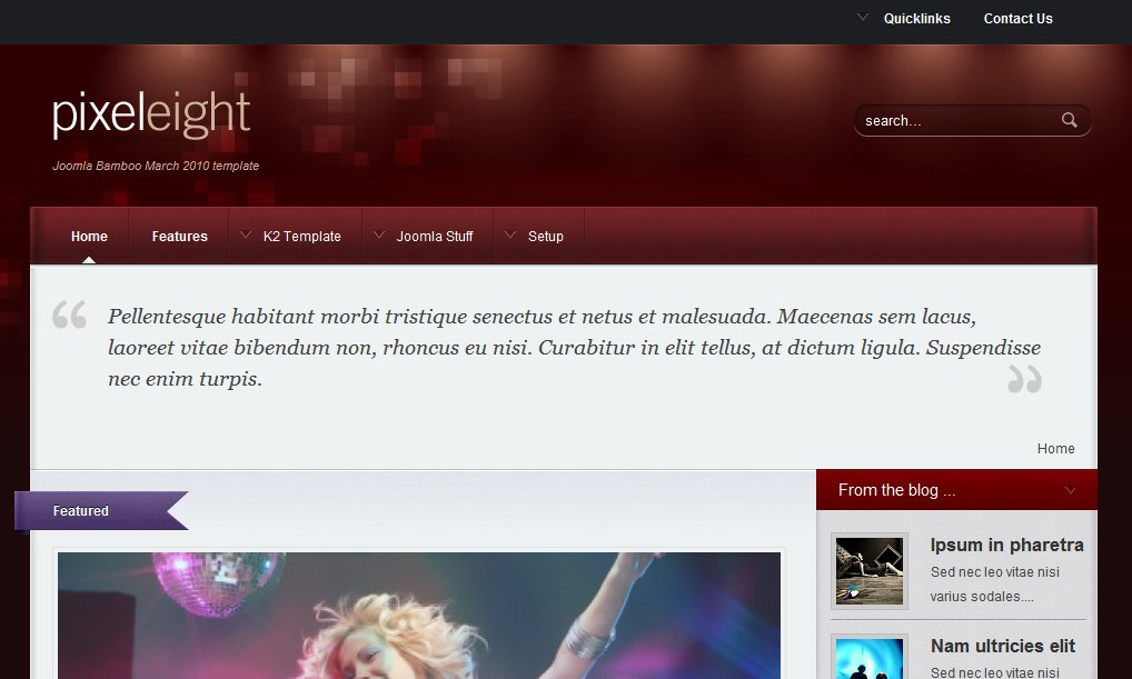 Pixel Eight Dark Blog Joomla Template