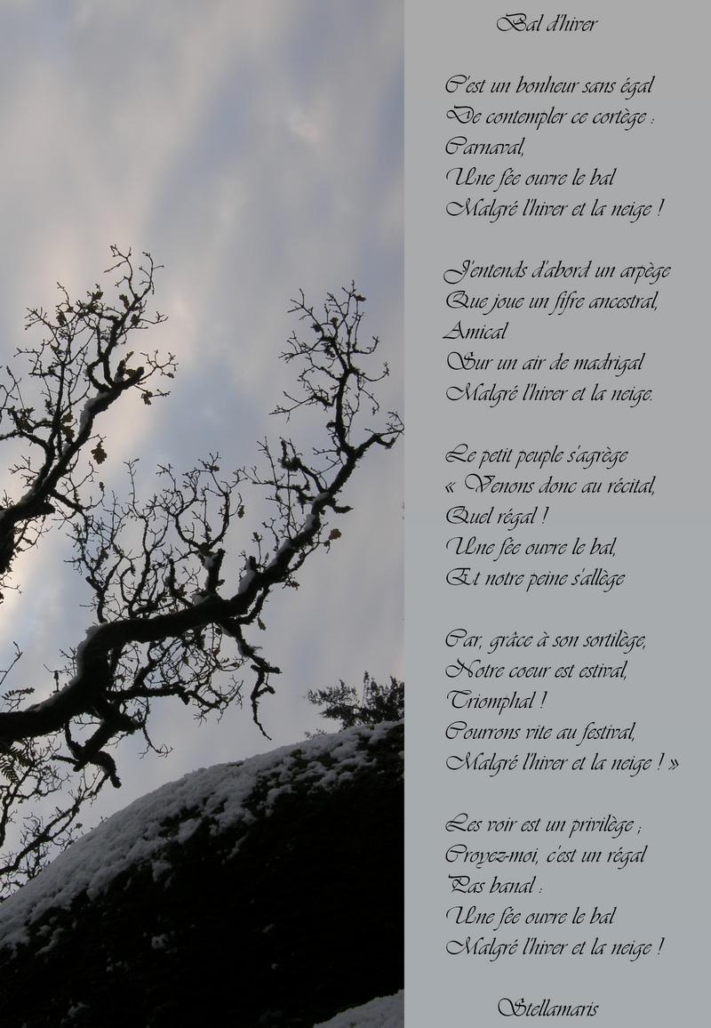Bal d'hiver / / C'est un bonheur sans égal / De contempler ce cortège : / Carnaval, / Une fée ouvre le bal / Malgré l'hiver et la neige ! / / J'entends d'abord un arpège / Que joue un fifre ancestral, / Amical / Sur un air de madrigal / Malgré l'hiver et la neige. / / Le petit peuple s'agrège / « Venons donc au récital, / Quel régal ! / Une fée ouvre le bal, / Et notre peine s'allège / / Car, grâce à son sortilège, / Notre coeur est estival, / Triomphal ! / Courrons vite au festival, / Malgré l'hiver et la neige ! » / / Les voir est un privilège ; / Croyez-moi, c'est un régal / Pas banal : / Une fée ouvre le bal / Malgré l'hiver et la neige ! / / Stellamaris