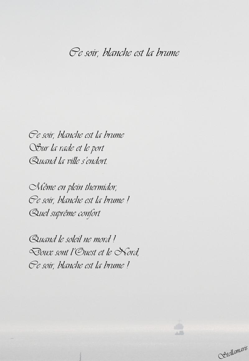 Ce Soir Blanche Est La Brume Stellamaris Poèmes Et